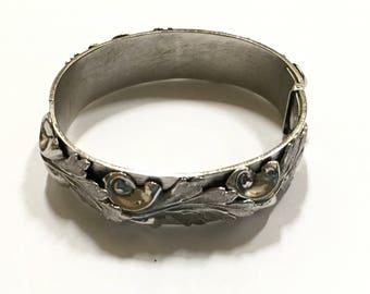 Whiting and Davis Bracelet Silvertone Clamp Cuff Vintage Designer Jewelry