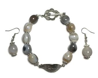 Agate bracelet, silver leaf charm, jewelry set, agate beads, beaded bracelet, genuine stones, under 20 dollars, gift for her, agate earrings