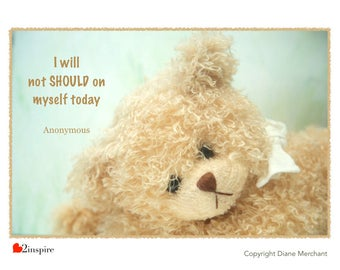 I will not should on myself today, inspiration, quote, anonymous, bear, feelings, emotion