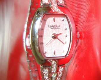 Ladies Caravelle Silvertone Diamond Watch