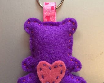Purple and pink bear keychain