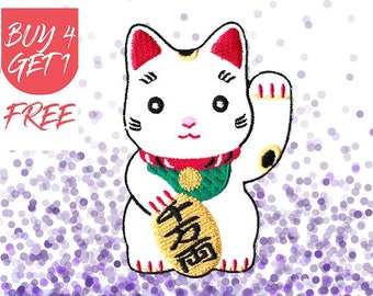 Japanese Patches Cat Patch Iron On Patch Embroidered Patch Lucky Cat Maneki Neko