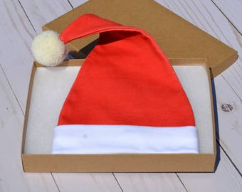 Santa Hat, Christmas Hat, Organic Cotton Baby Hat