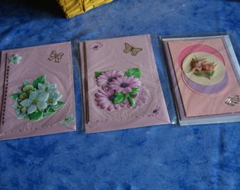 stunning 3 cards in 3D, various occasions, flowers, model unique