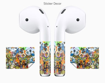 AirPods Stickers Adventure Time, 2-Sets, Wraps, Skin, Cover, Decal