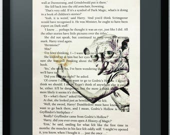 Harry Potter Dobby Art Print on Book Page from Harry Potter