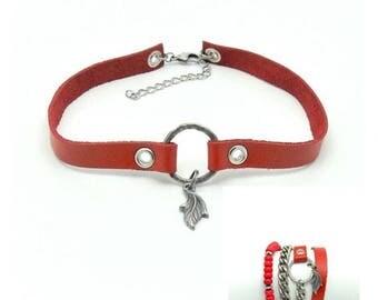Red jewelry set, Jewelry set, Choker, Wrap bracelet, Red leather, Red jewelry, Leather jewelry, Gift for women, Gift for her, Jewelry gift
