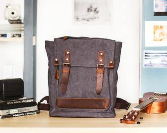 Vintage backpack, backpack canvas, canvas pack, canvas rucksack, blue backpack, leather backpack, travel backpack men, handmade bag