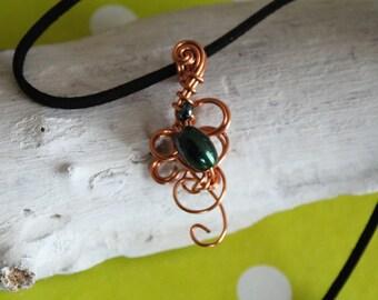 Copper wirewrapped pendant