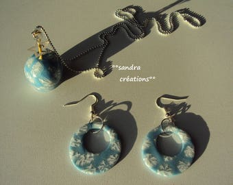 set of necklace - love Apple + Blue Snowflake Pearl Earring