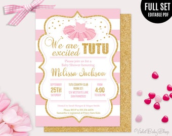 Tutu Excited Baby Shower Template. Printable Girl Baby Shower Invitation. Gold Baby Shower Invitation. Pink Blush Gold. Instant Download