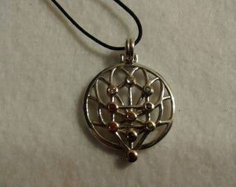 Peter Stone Tree of Life Pendant 925 Silver 14K Ten Gem Accents