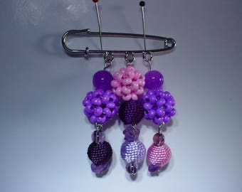 Purple and pink brooch