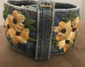 Floral, Denim Cuff Bracelet