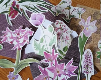 Lavendar Botanical Collage Pack, 15+ pieces paper pack, Paper ephemera lot, junk journal pack, theme paper lot