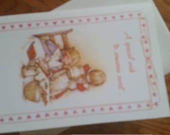 Vintage Greeting Card - 1975 American Greetings Holly Hobbie  Valentine - Friends Baking