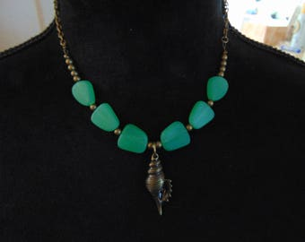 Green Glass and Shell Necklace