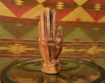 Vintage wood, Hand carved, praying hands Folkart. Exquisite detail and craftsmanship.
