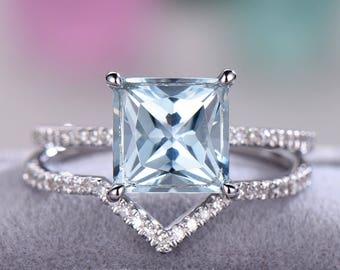 Princess Cut Aquamarine Engagement Ring White Yellow Rose Gold 925 Sterling Silver CZ Diamond Bridal Wedding Band Anniversary Gift Women Set