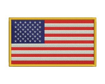 USA Flag Embroidery Design - 3 SIZES