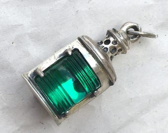 Vintage Sterling Silver 925 Ship Boat Lamp Charm Pendant in Green, by Beau Sterling
