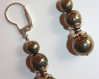 Pyrite and Sterling Silver 925 earrings.