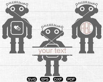 Robot Svg, Robot Clipart, Monogram Frame cricut, cameo, silhouette cut files commercial & personal use