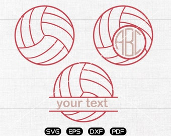 Volleyball Svg, Sports Volleyball Clipart, Monogram Frame cricut, cameo, silhouette cut files commercial & personal use