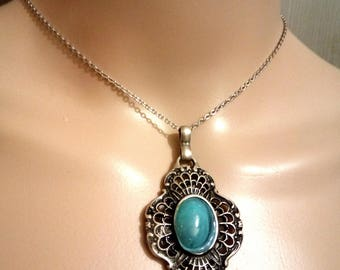 a beautiful choker necklace and can grow with a sublime rere pendant, silver, blue coral cabochon, measures (38 / 45cm)
