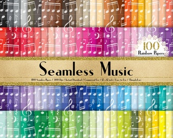 "100 Seamless Music Note Papers in 12"" x 12"", 300 Dpi Planner Paper, Commercial Use, Scrapbook Paper, Rainbow Paper, 100 Music Papers"