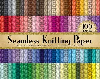 """100 Seamless Knitting Papers in 12"""" x 12"""", 300 Dpi Planner Paper, Scrapbook Paper, Rainbow Paper, 100 Knitted Papers, 100 Sweater Paper"""
