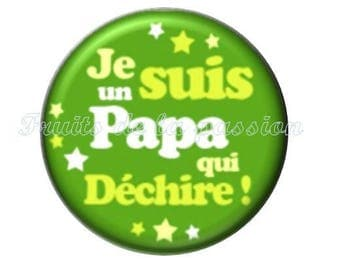 1 cabochon 25mm round glass dad mother father, green