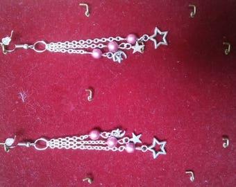 3 chains stars earrings