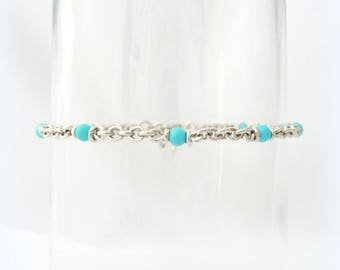 Bracelet chain and beads in turquoise - silver