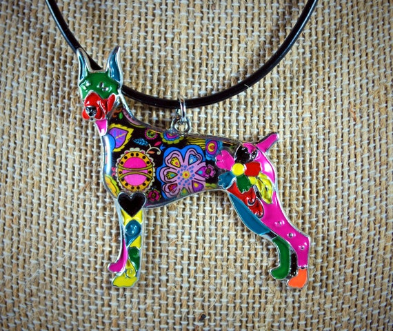 Doberman pendant statement necklace tattoo jewelry for Day of the dead body jewelry