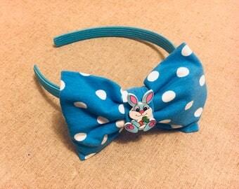 Blue polka dot headband, girl headband, rabbit headband