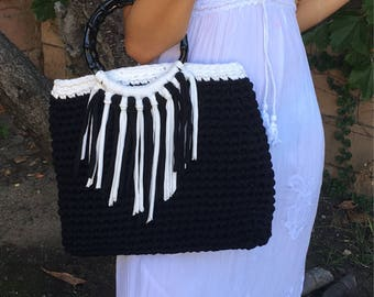 Handmade crochet black and white t-shirt yarn bag