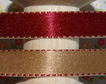 -Reversible-red and gold satin ribbon