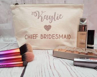 Bridal Party Personalised Make up - Accessory Bags - Bridesmaid - Maid of Honour Gifts - Weddings