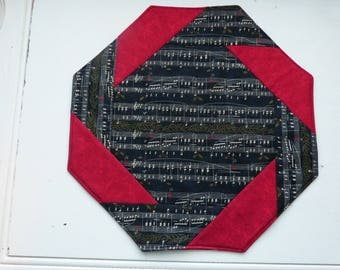 Table Topper, music notes, black, red, quilted