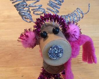 Wine Cork Deer / Reindeer - pink scarf / earmuffs