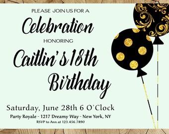 Th Birthday Invitations Etsy - Birthday invitation ideas 18th