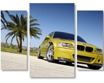 BMW on Canvas, Car BMW Art style, Yellow Car on Canvas Wall Art, Beautiful Car on Canvas