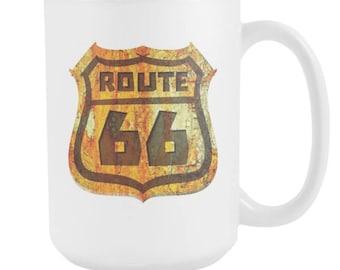 Route 66 Historical Tourist USA Souvenir Gift White 15oz Mug