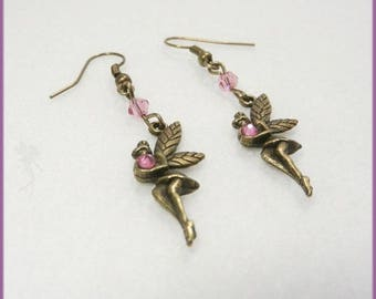 Brass and 'Fairies dance' pink crystal earrings