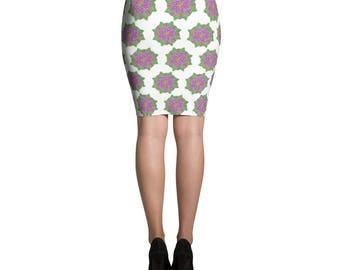 Mandala Inspired Patterned Pencil Skirt