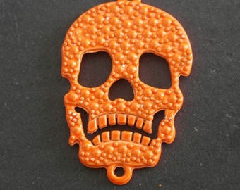 1 connector neon orange skull bead skull for