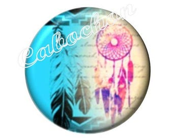 2 cabochons 16mm glass, Dreamcatchers, feathers, Dreamcatcher