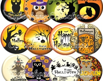Set of 12 cabochons 25mm glass, Halloween