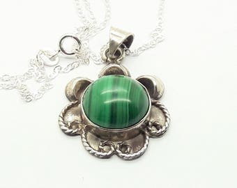 Malachite Sterling Silver Pendant Necklace/Vintage/Handmade/Free Shipping US/Birthday/Christmas/Valentine   /Anniversary/Mother/gift for her